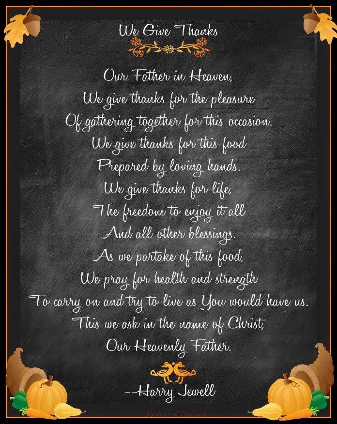 Free Thanksgiving prayer printable