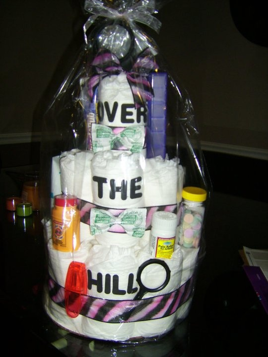 Over the Hill Cake...great twist on the diaper cake!