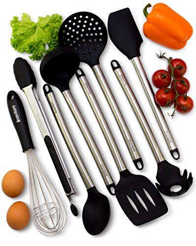 Kitchen Utensils - 8 Piece Cooking Utensils - Nonstick Utensil Set - Silicone and Stainless Steel Kit - For Pots and Pans - Serving Tongs, Spoon, Spatula Tools, Pasta Server, Ladle, Strainer, Whisk. For product info go to:  https://all4hiking.com/products/kitchen-utensils-8-piece-cooking-utensils-nonstick-utensil-set-silicone-and-stainless-steel-kit-for-pots-and-pans-serving-tongs-spoon-spatula-tools-pasta-server-ladle-strainer-whisk/