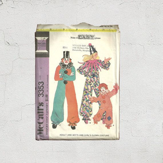 New in Posy Patterns Kids Clown Costume Pattern   McCalls 3353 Size 2 Toddler Size  Children's Jester Outfit   1970s Cute Dress Up  Fun Halloween Costume by PosyPatterns