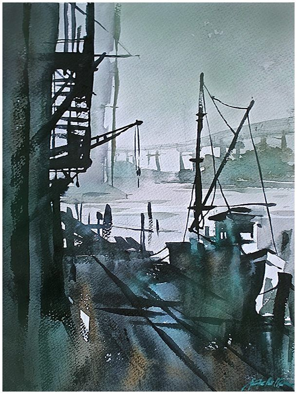 """industrial landscape in green"" thomas w schaller watercolor 22x15 inches 10 aug 2014"