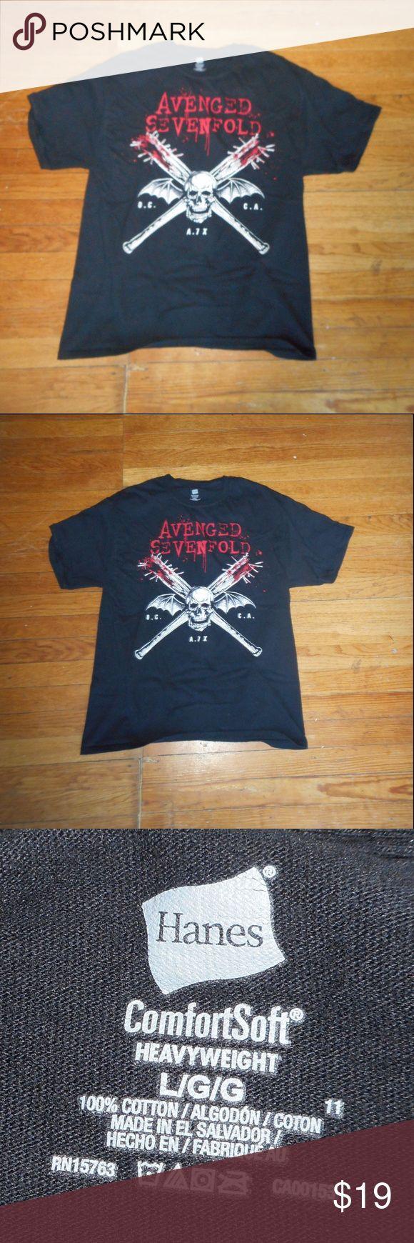 Avenged Sevenfold Crossbones band T shirt punk Avenged Sevenfold MENS Concert Tee Band T Shirt black L preowned great shape Hot Topic Shirts Tees - Short Sleeve