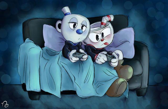 Cuphead y mugman jugando cuphead :v