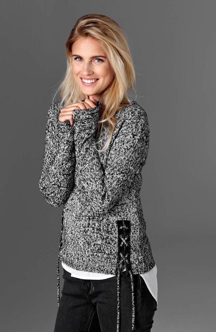 DZIANINY // TRULYMINE Miękki pulower w modnum kolorze, z boku na dole ozdobne sznurowanie + wykończenia ze sztucznej skóry, 179 zł.