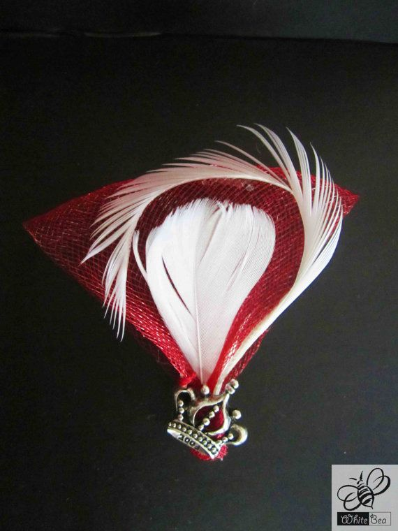 Red and white lapel pin with crown medallion by WhiteBea on Etsy, $12.50