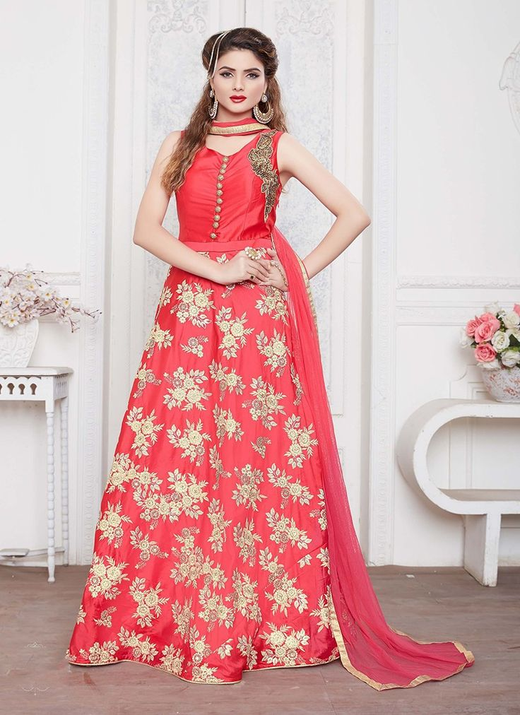 Gajri Designer Silk Anarkali Suit  https://www.ranafashions.in/salwar-suits/gajri-designer-silk-anarkali-suit-4639.html