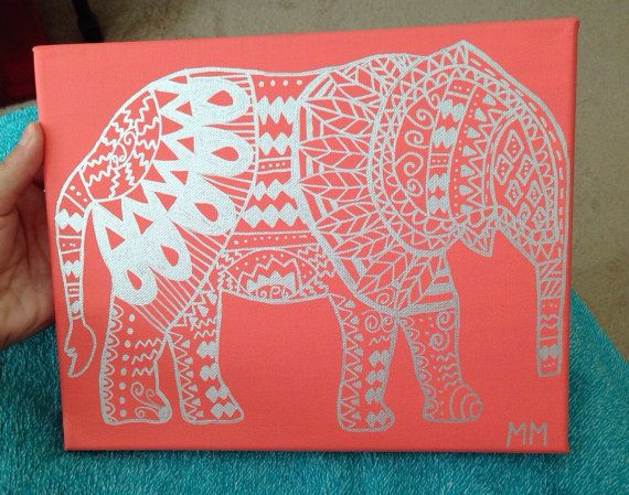 Coral Elephant Canvas Painting by MussoArt on Etsy