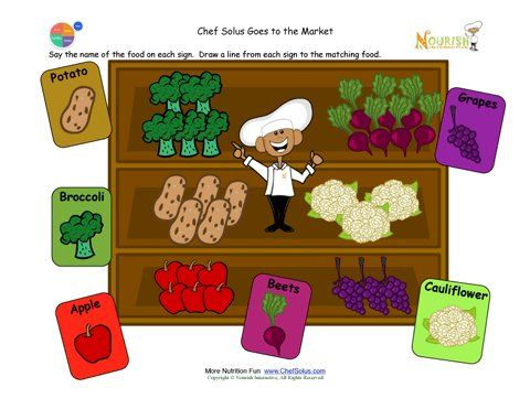 Chef Solus is at the market and needs a little help matching the names of the fruits and vegetables with their picture.  Preschool activity for new readers by matching pictures and names.