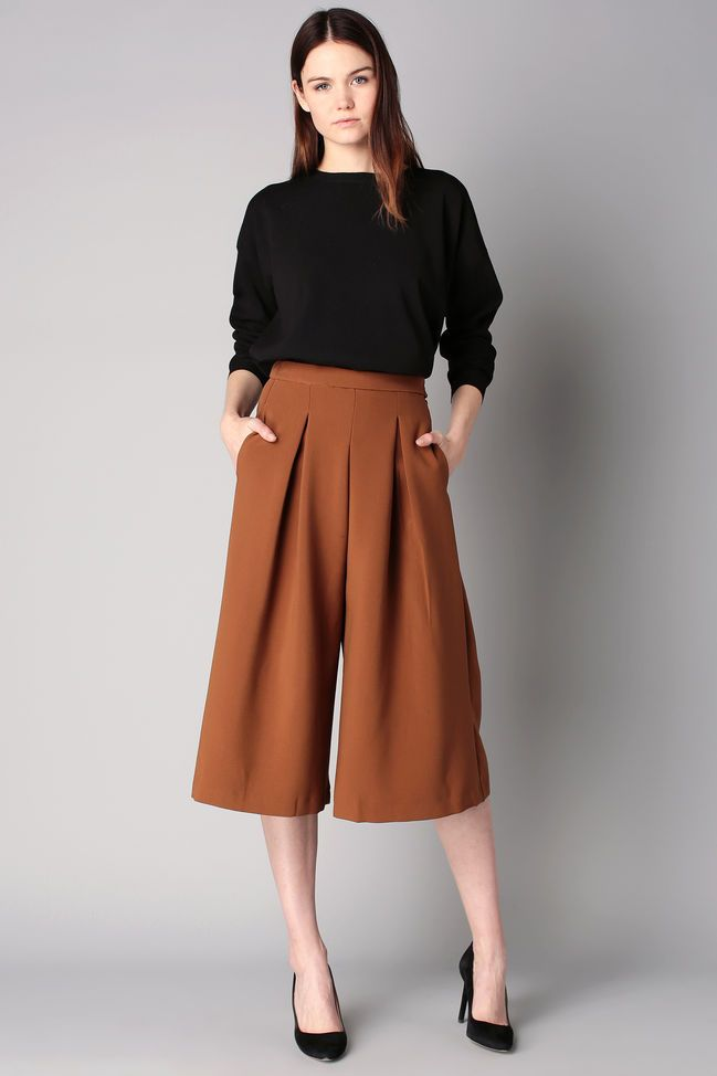 Straight-cut trousers - Brown / Bronze 1