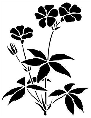 Cranesbill stencil from The Stencil Library GARDEN ROOM range. Buy stencils online. Stencil code GR23.
