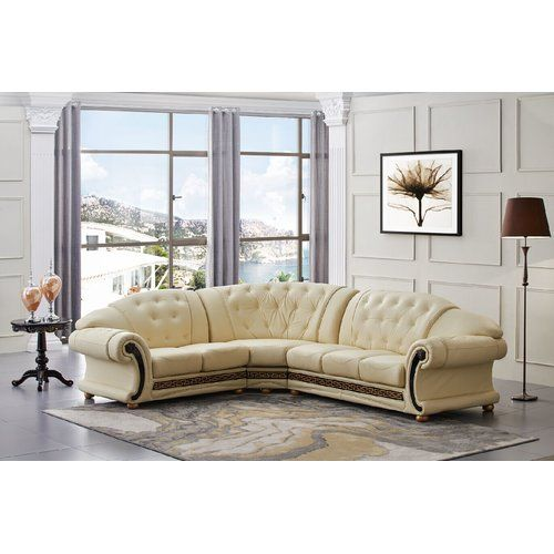 Best Astoria Grand Caldanagh Leather Corner Sofa Sectional 400 x 300