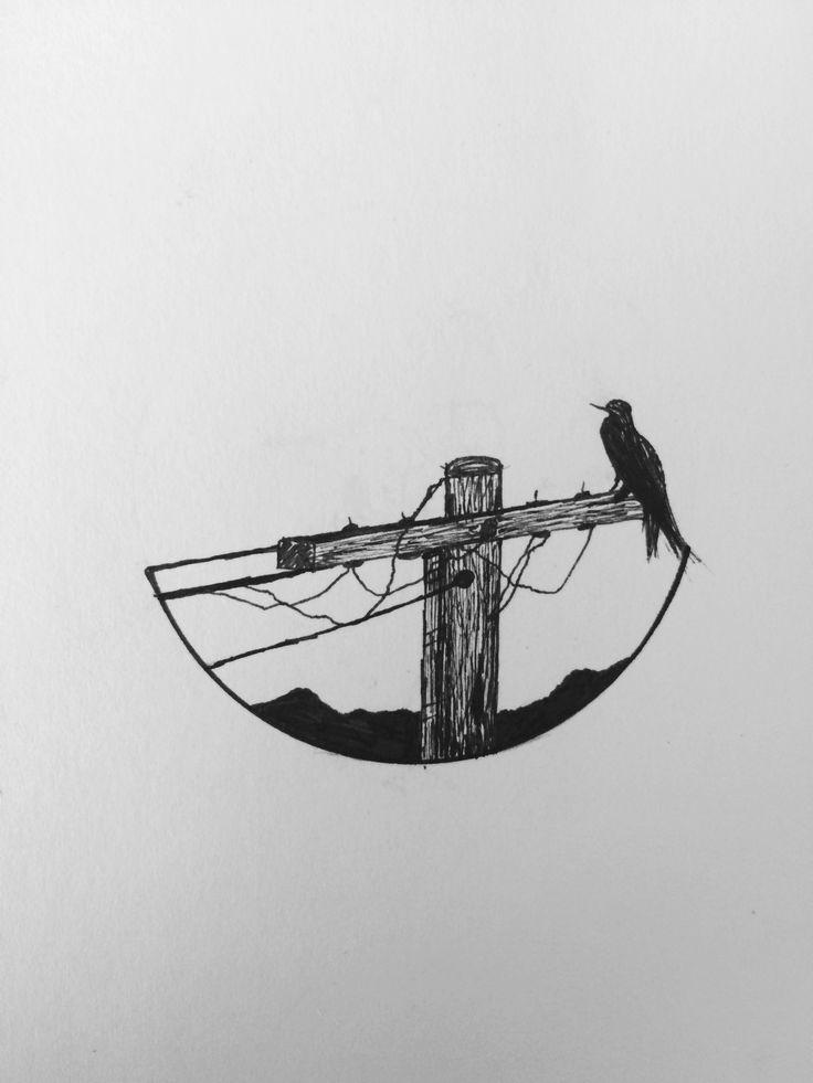 Crow lines - felt tip fine art