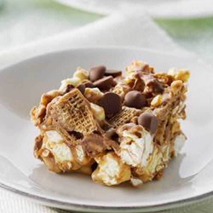 Shreddies After-School Squares Recipe Desserts, Lunch, Snacks with butter, mini marshmallows, nut butter, milk chocolate chips, shreddies cereal, popcorn, nuts