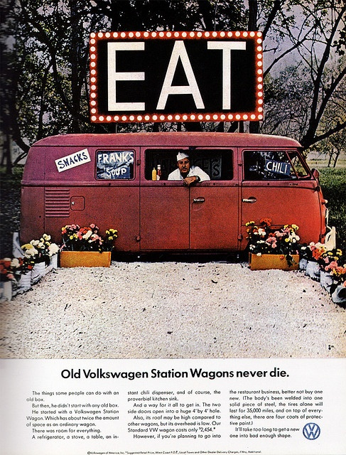 "1966 print ad- ""Old Volkswagen Station Wagons never die."""