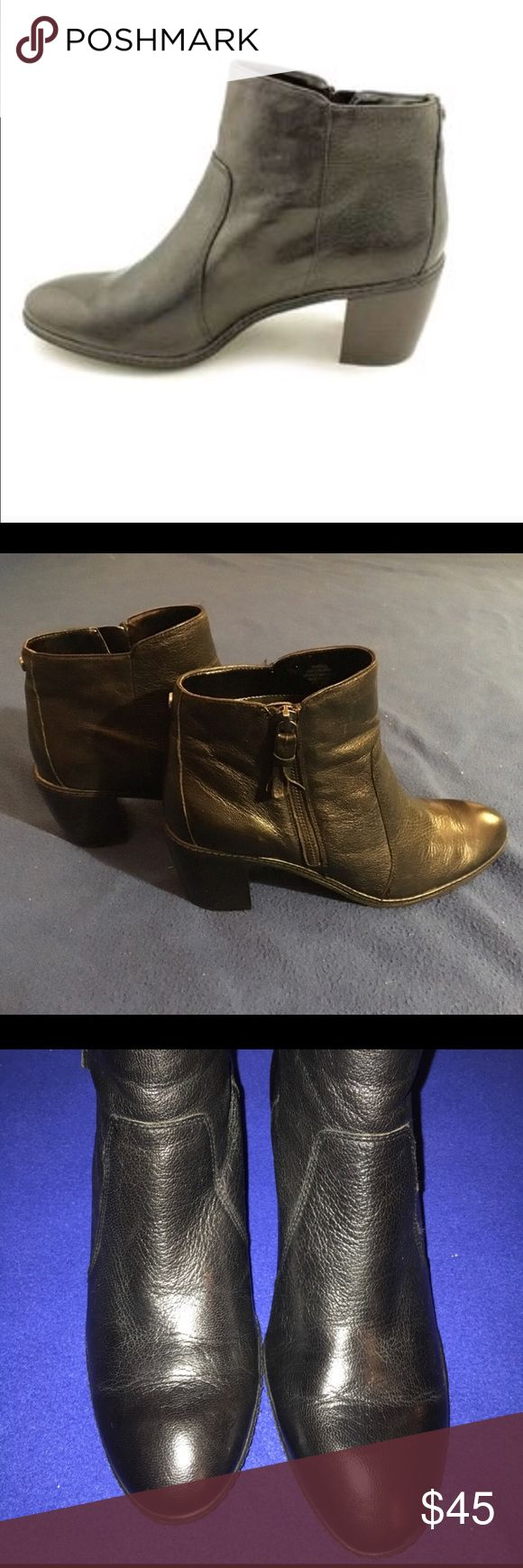 Anne Klein Black Leather Boots Worn only one time. Look brand new. No scratches or scruffs anywhere at all. Super comfortable! Size 9. Anne Klein Shoes Ankle Boots & Booties