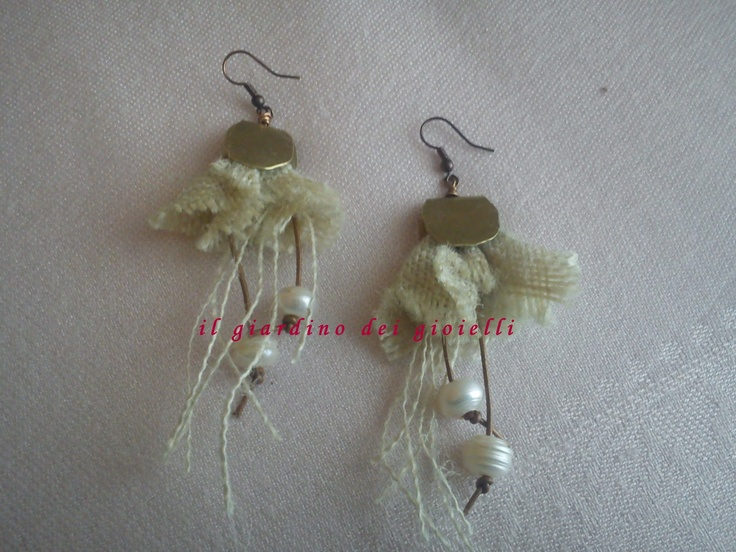 brass earrings, jute fabric and pearls