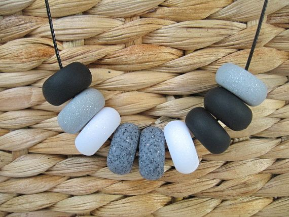 Polymer Clay Bead Necklace Granite Black White and by ethelanddot