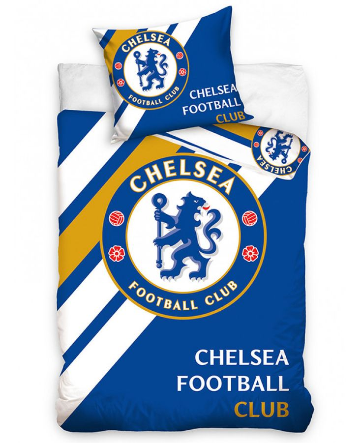 This Chelsea FC Stripe Single Cotton Duvet Cover Set features the iconic club crest and is reversible too. Free UK delivery available