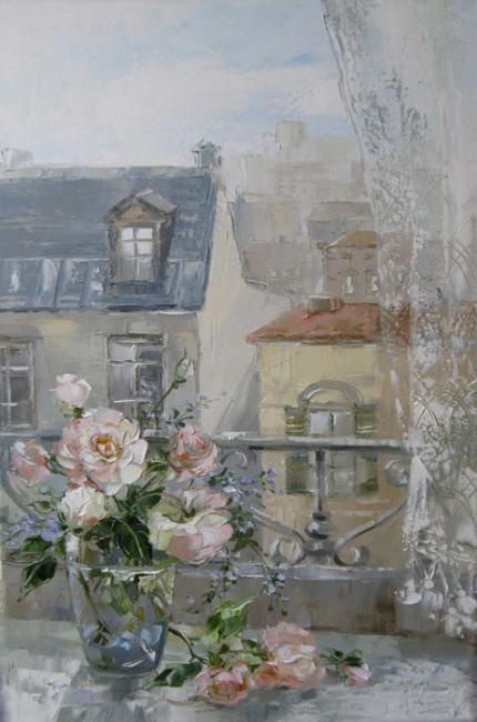Morning in Paris by Russian artist, Oksana Kravchenko (1971) Russia, Novouralsk