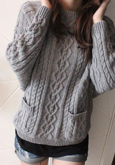 Adorable Long Grey Ladies Sweater AND with cute pockets to make lounging around the house easy :)