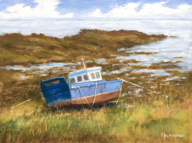 Low Tide by Olli Malmivaara, soft pastel painting on sanded paper 24 x 32 cm