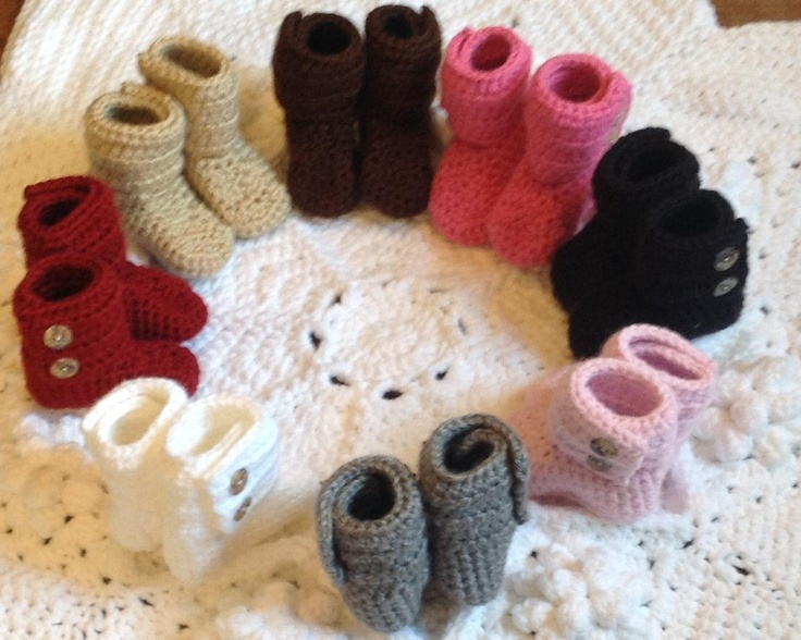 Baby Booties Hand Crochet Shoes, Many Color Choices and Sizes SnuUgs Featuring Button Closure, two Buttons on each Boot. $19,95, via Etsy.