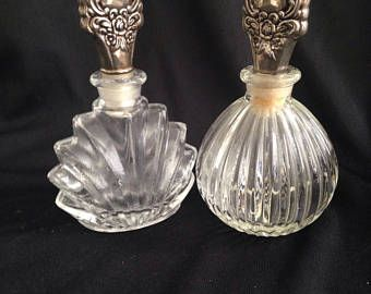 Two nice perfume bottles of pressed glass, 1950.
