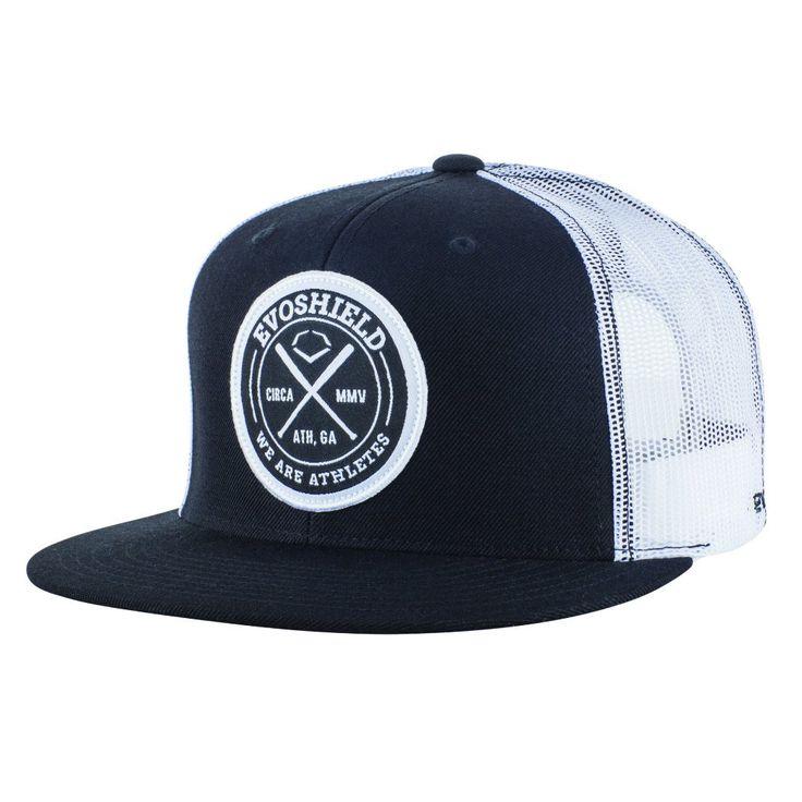 EvoShield Classic Crest Flatbill Snapback Hat, Black/White