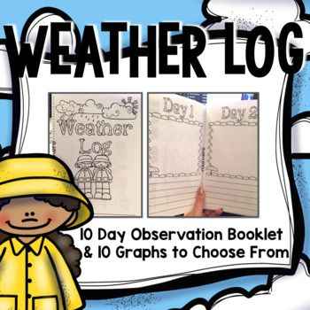 This 10 Day Weather Observation Log Booklet is the perfect accompaniment to any Weather Unit. This resource includes a 6 page booklet that covers 10 days of weather observations. The booklet is set up Lucy Calkins Style: students draw/label their observation and write about it.