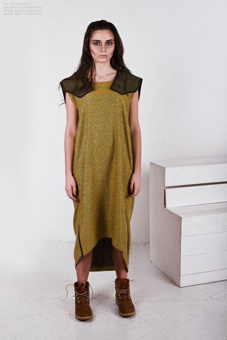 Kristina Borisova in Yana Tsvetkova's oversize mustard dress in toga style from fall/winter 2015-2016