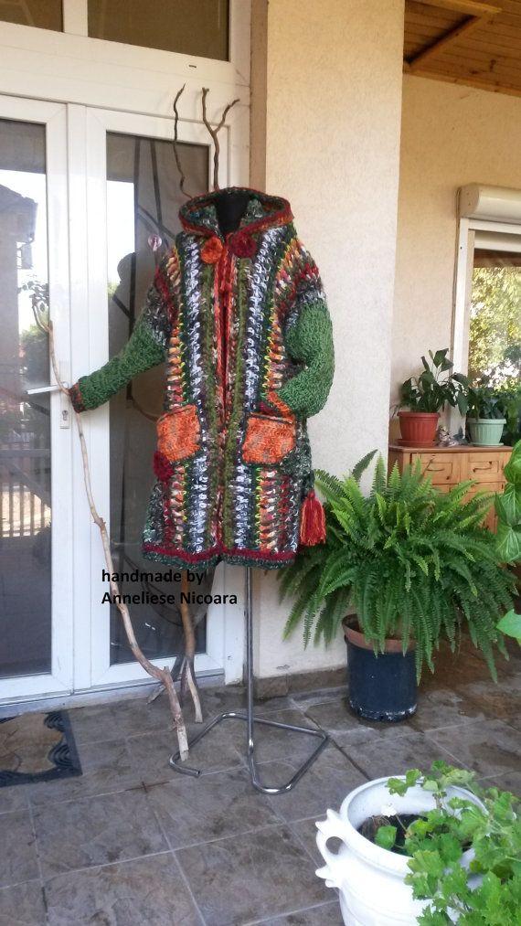 Bohemian Winter Hooded Coat / Hand Crochet by AnnesMagicCrochet