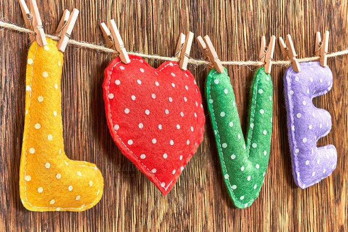 Love, Valentines Day. Word polka dots, heart wood by Bear's Den on…