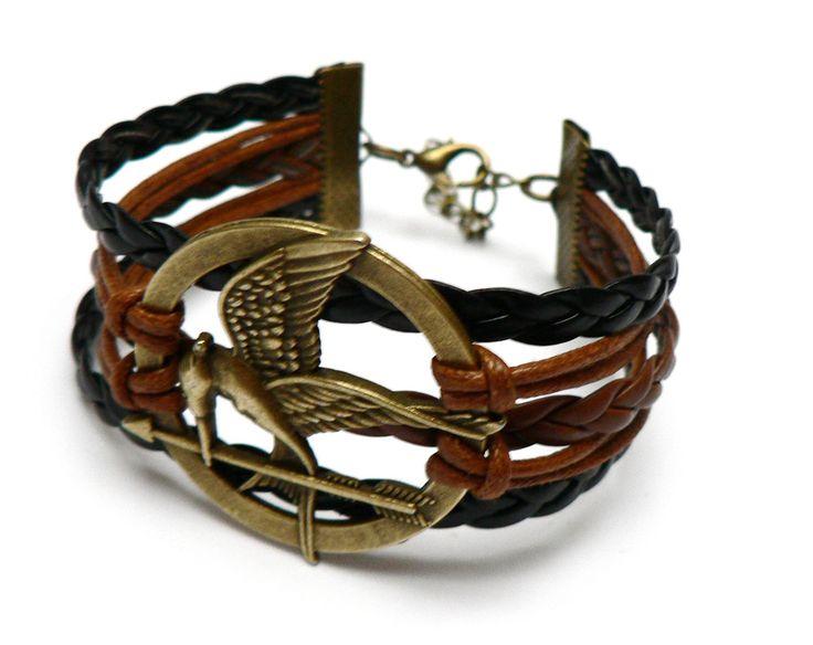 Bracelet Geai Moqueur Marron et Noir - Hunger Games - Bracelet Femme