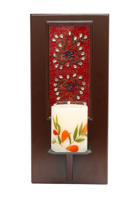 Masterpiece rectangular shaped wall sconce.   Handcrafted in Kundan Zardozi work.   The candle light , as it emanate and diffuses, well , the illuminated Kundan work adds a Wow factor to your wall décor.   ( Shipped without the Candle).