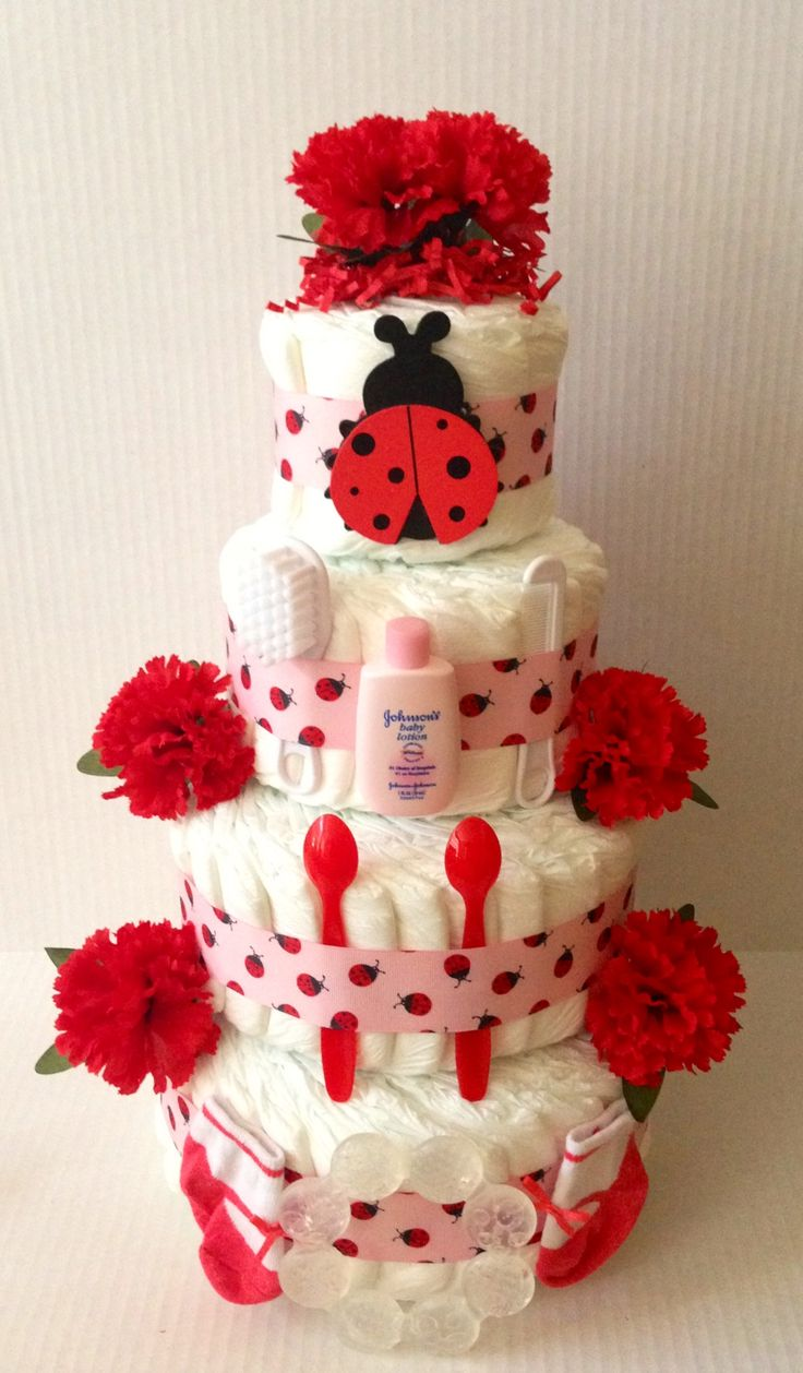 Lady Bug Diaper Cake. 4 Tier www.finediapercakes.com