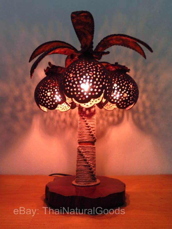 Wooden Table Lamp Palm of Coconut Shell - Asian Desk Night Light Wood Shades