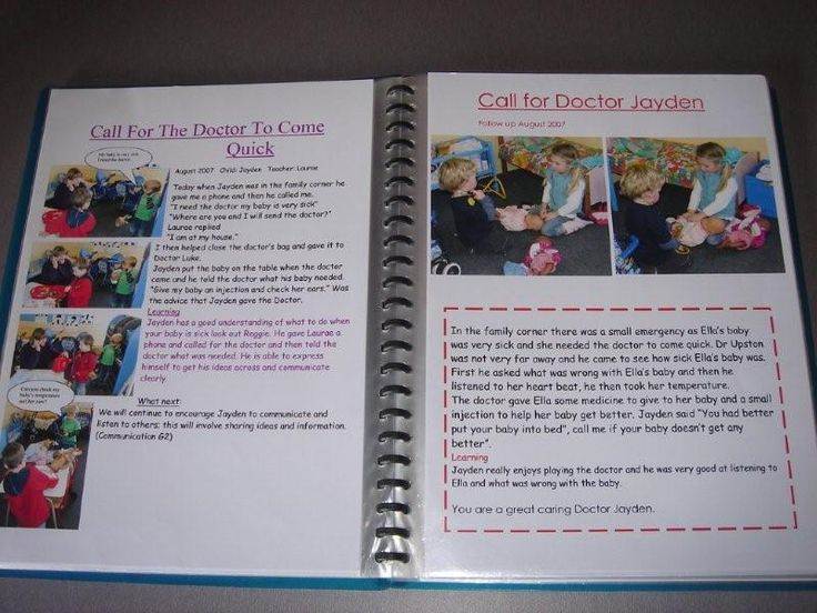 """Profile books, We will keep a profile book of your child's progress. These books will contain documented learning moments (Learning Stories) and with your input through the """"story from Home"""" it will become a unique keepsake of your child's special """"Preschool journey"""". The books are available for you to view at all times."""