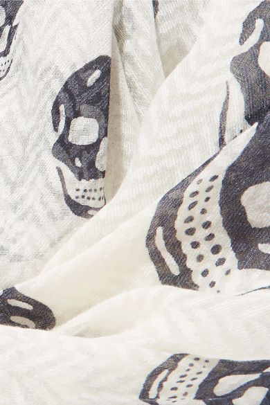 Alexander McQueen - Ombré Herringbone Printed Chiffon Scarf - Gray