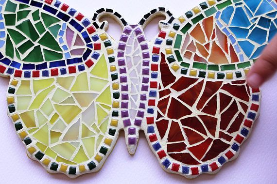 Butterfly wall art Mosaic stained glass in rainbow colors