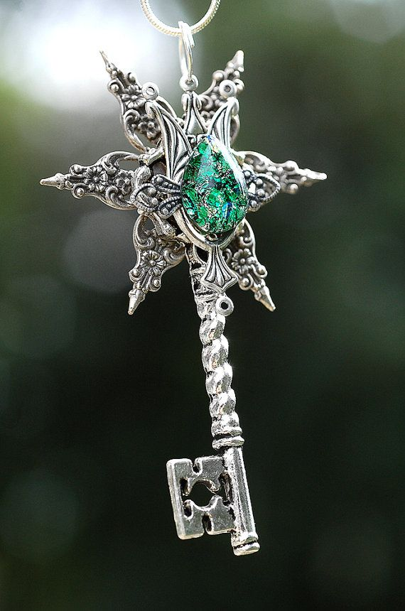 Star of the Forest Stone Key Necklace by KeypersCove on Etsy, $38.00