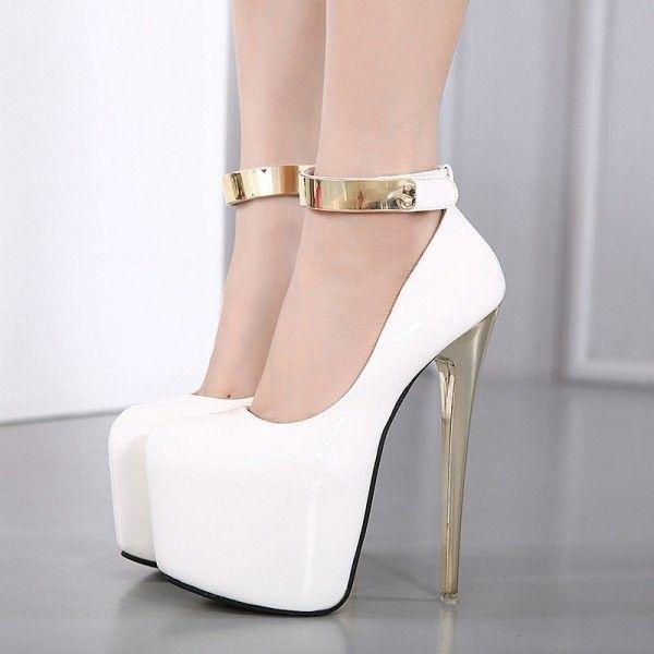 Women's White Ankle Strap Super Stiletto Heel Platform Stripper Heels ($80) ❤ liked on Polyvore featuring shoes, pumps, platform stilettos, sexy platform shoes, stiletto shoes, stiletto heel pumps and sexy shoes