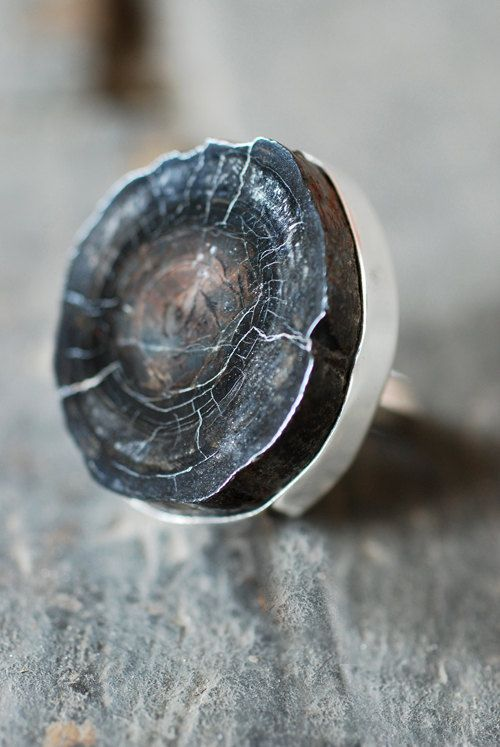 amazing texture-fossilized whale bone ring by dollybirddesign