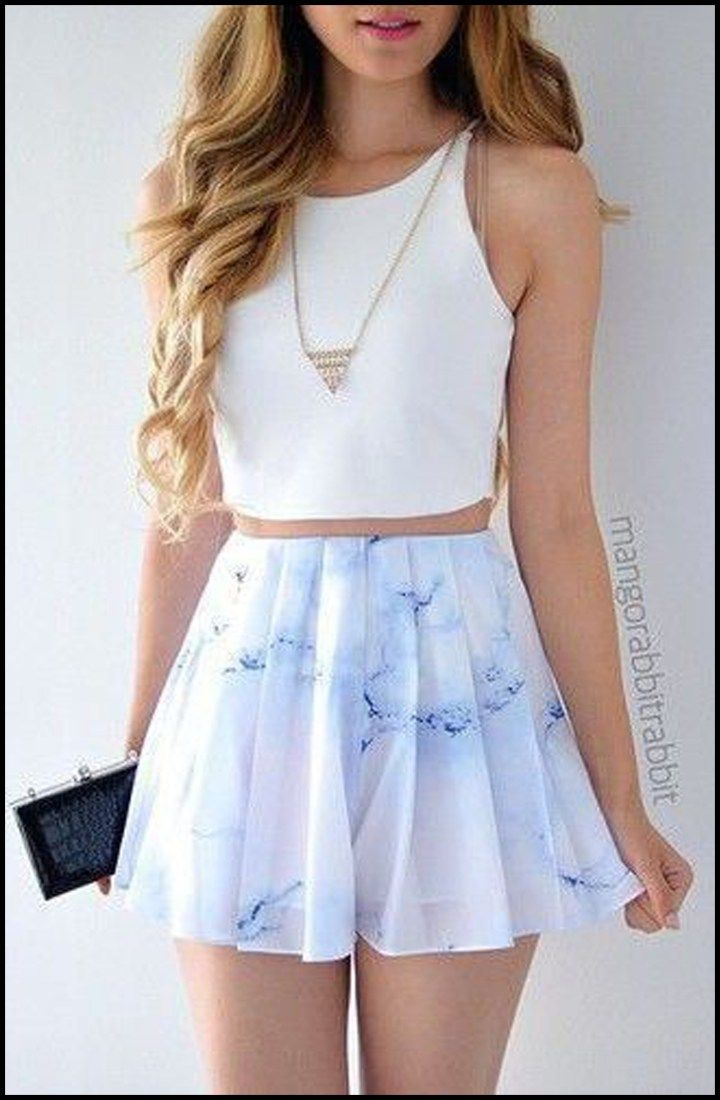 Summer Outfits for Teen Casual - White Crop Top & Floral Marble Skater Skirt Romper Dress