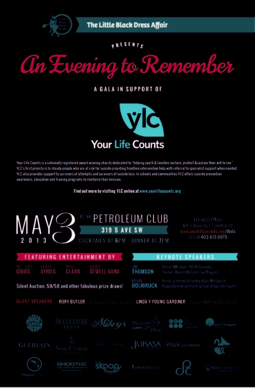 Join us May 3 for The Little Black Dress Affair in support of Your Life Counts at the Petroleum Club... event details at https://www.theskoop.ca/events/514076ead87c1a6f0a03232e