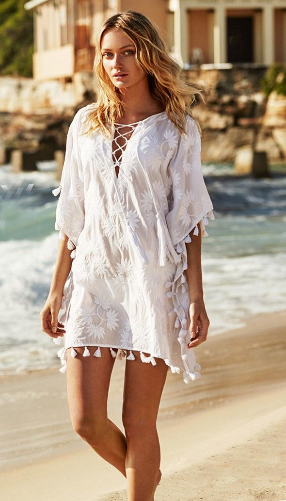 Seafolly Tropic of Blue Embroidered Kaftan - White