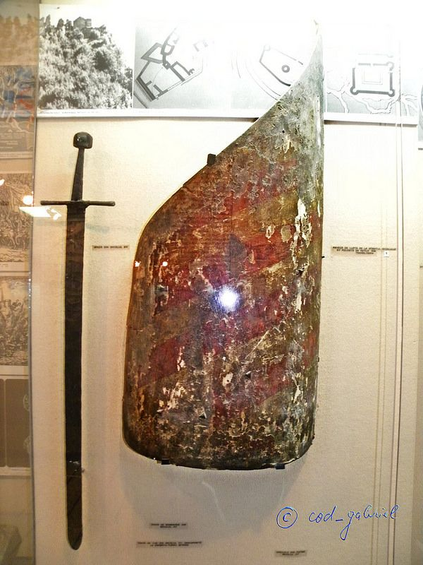 15th century transylvanian shield and 15th century sword exhibited in the National Military Museum of Romania in Bucharest