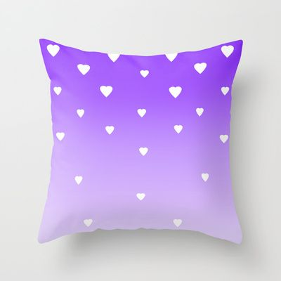 Purple Ombre with White Hearts Throw Pillow for teen girls bedroom bedding decor #decampstudios