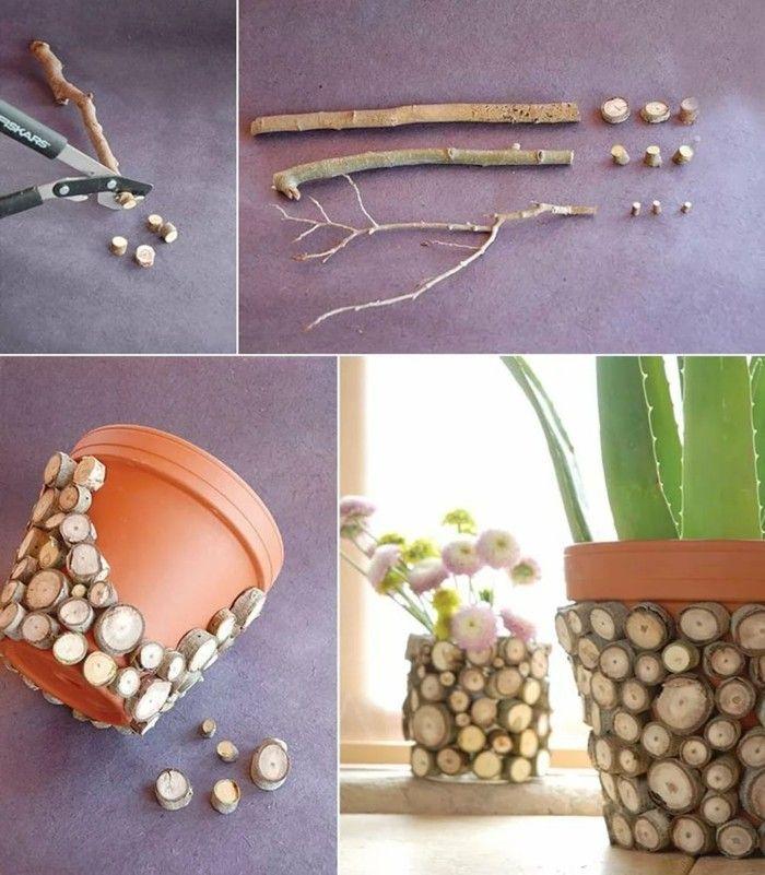 Gartendeko Basteln Naturmaterialien 35 Beispiele Wie Sie Den Garten Aufpeppen Topfblumen Diy Blumen Basteln Mit Holzscheiben