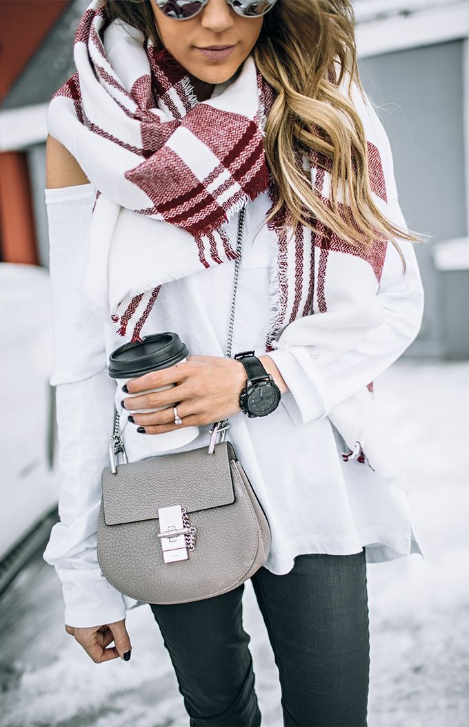 ❤ White jacket, red/white plaid blanket scarf, black skinny jeans, grey crossbody bag, black watch