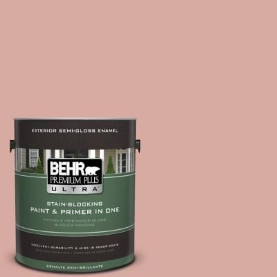 BEHR Premium Plus Ultra 1 gal. #T17-06 Everything's Rosy Semi-Gloss Enamel Exterior Paint-585401 - The Home Depot